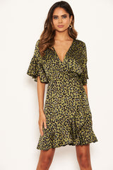 Khaki Leopard Print Full Wrap Mini Dress