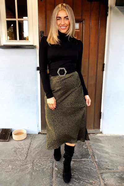 Khaki Animal Print Midi Skirt
