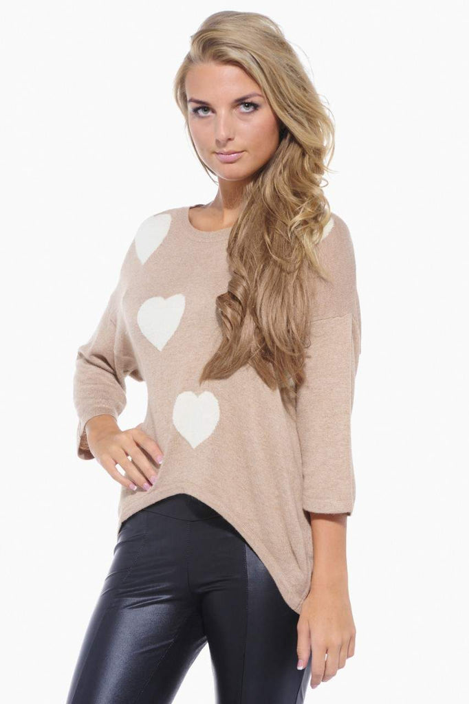 Heart Knit Three Quarter Sleeve Jumper
