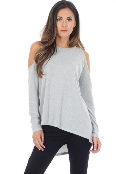 Grey Cold Shoulder Jumper