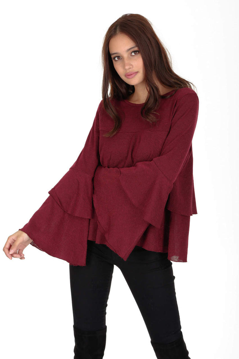 Wine Frill Long Sleeve Jumper
