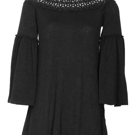 Black Flared Sleeve Swing Dress