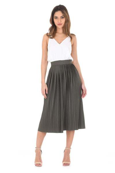 Khaki 2 In 1 Pleated Skirt Dress