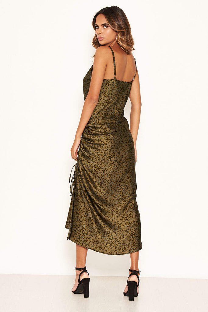 Khaki Animal Print Ruched Detail Midi Dress