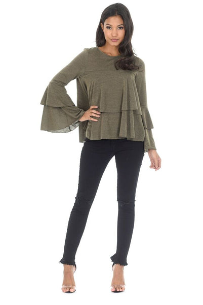 Khaki Frill Long Sleeve Jumper