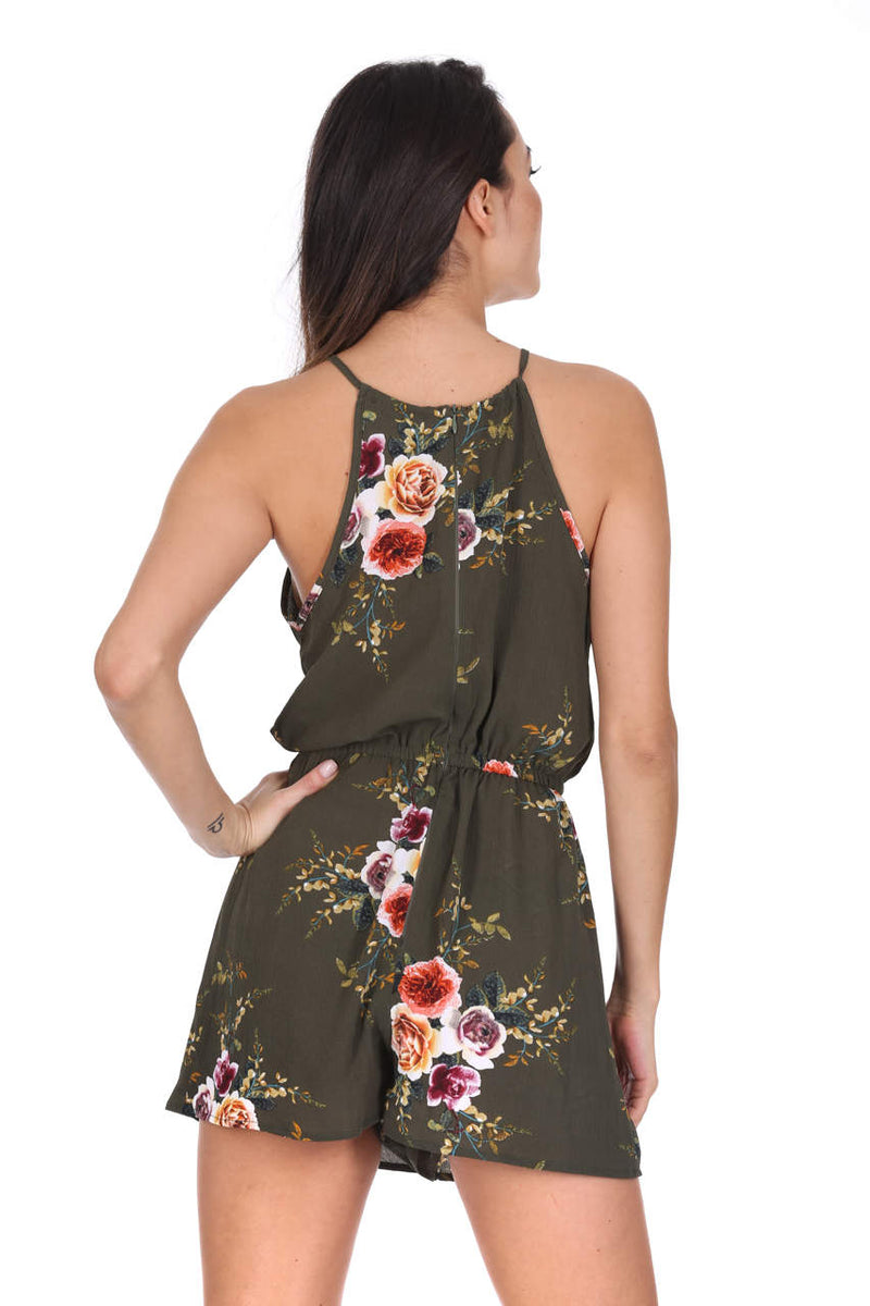 Khaki High Neck Floral Playsuit
