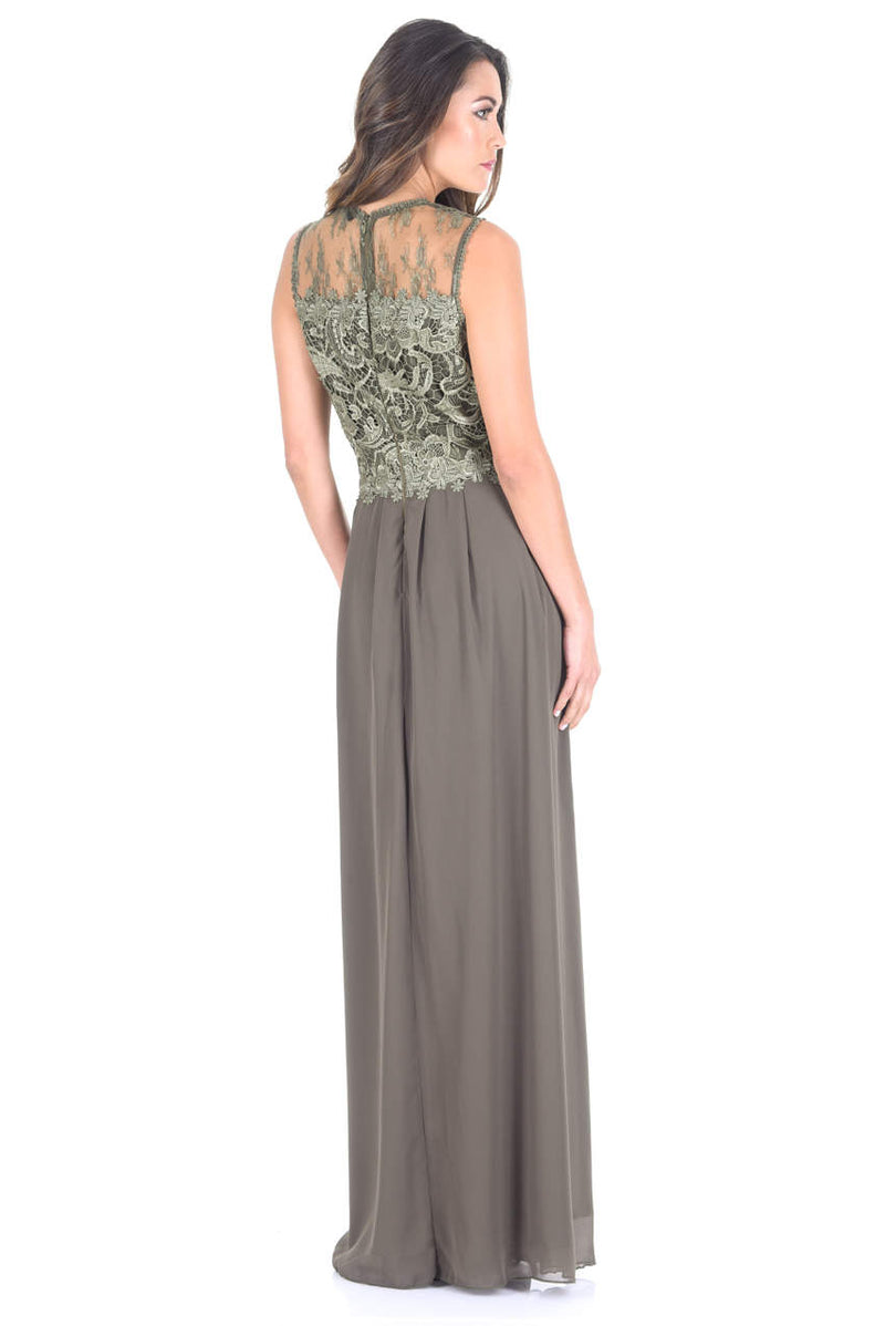 Khaki Crochet Top Maxi Dress