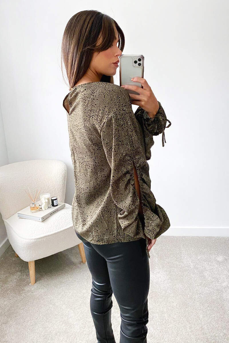 Khaki Printed Gathered Split Sleeve Blouse