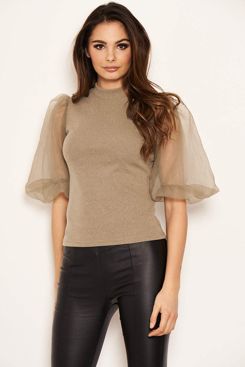 Khaki Puff Sleeve Knitted Top