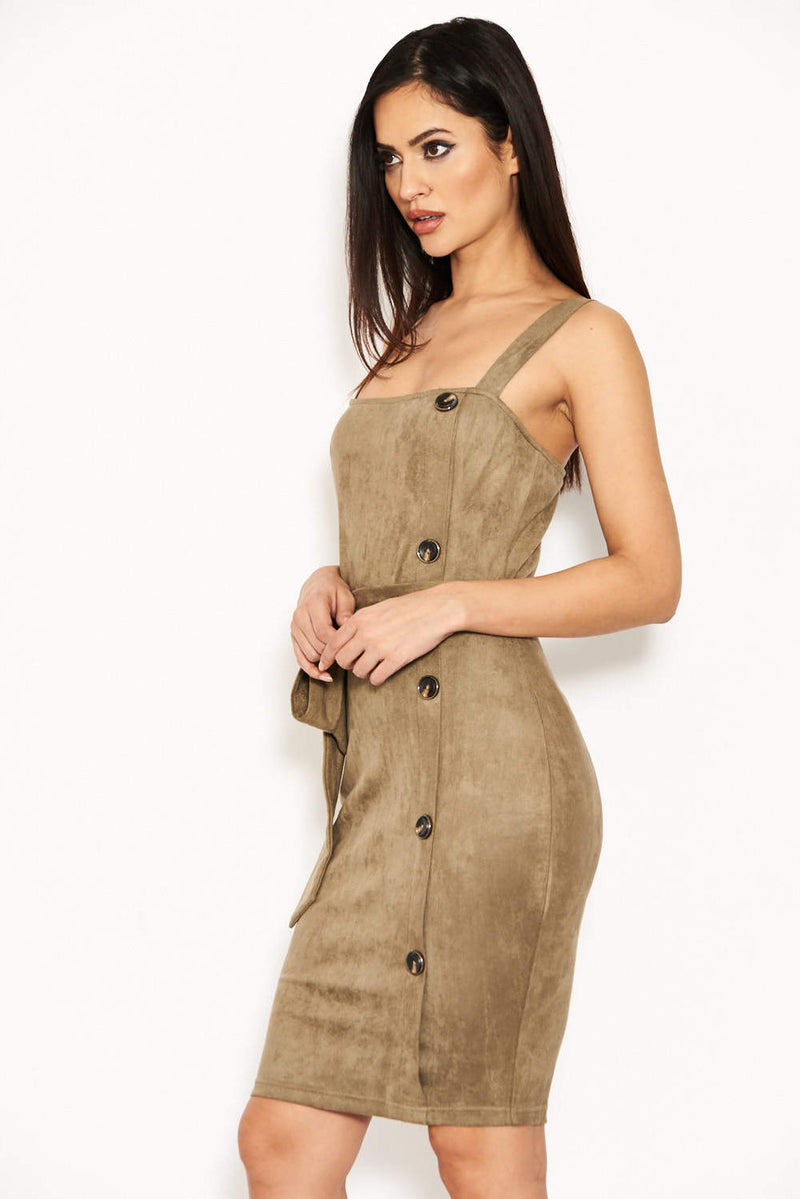 Khaki Suede Button Front Belted Dress