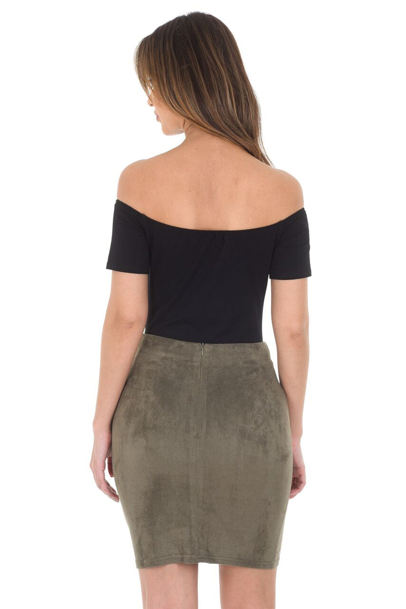 Khaki Suede Corset Detail Mini Skirt
