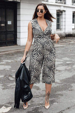 Khaki Wrap Front Animal Print Jumpsuit