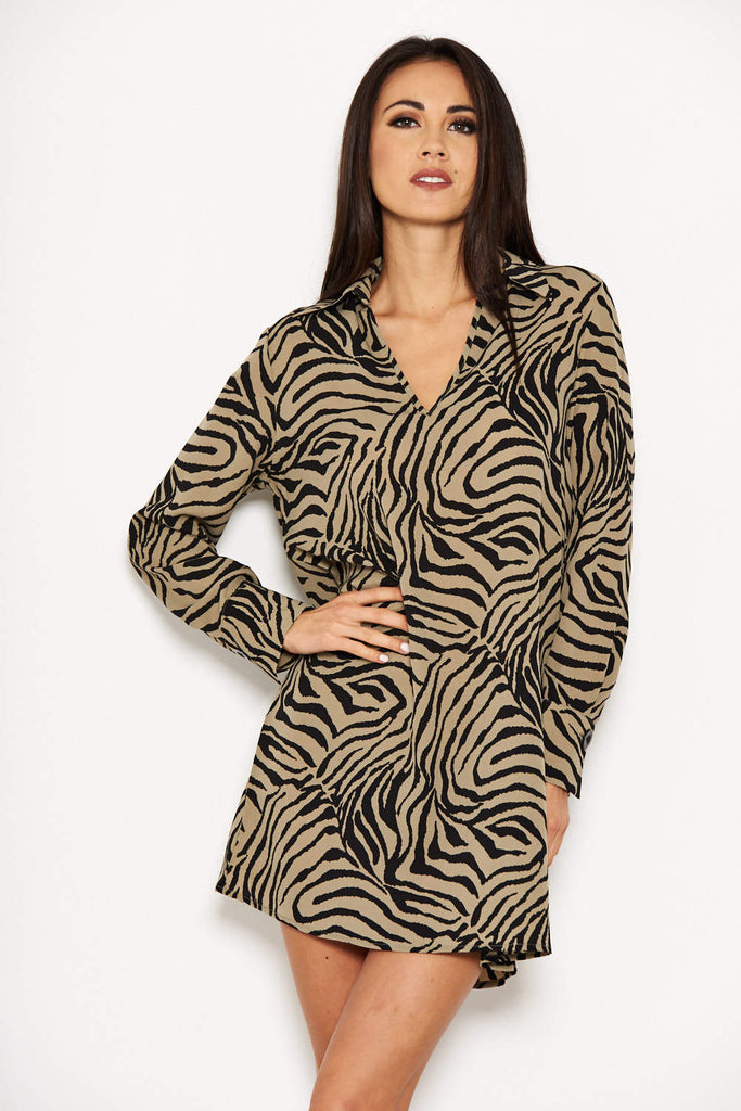 Khaki Animal Print Shirt Dress
