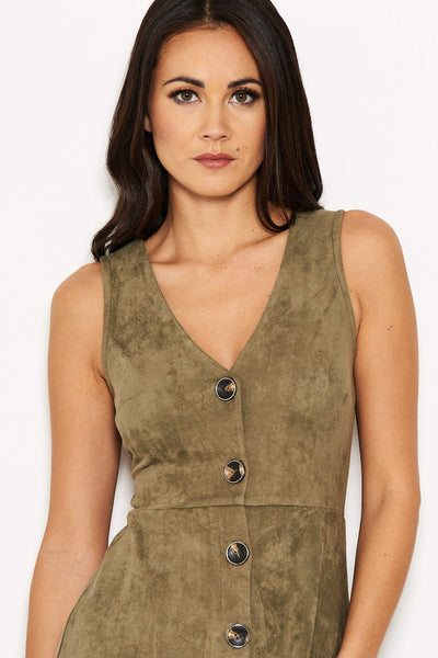 Khaki Suede Button Front Dress