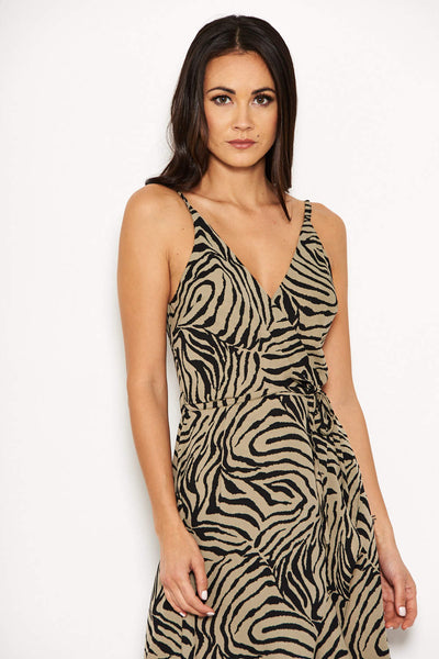 Khaki Animal Print Frill Hem Dress