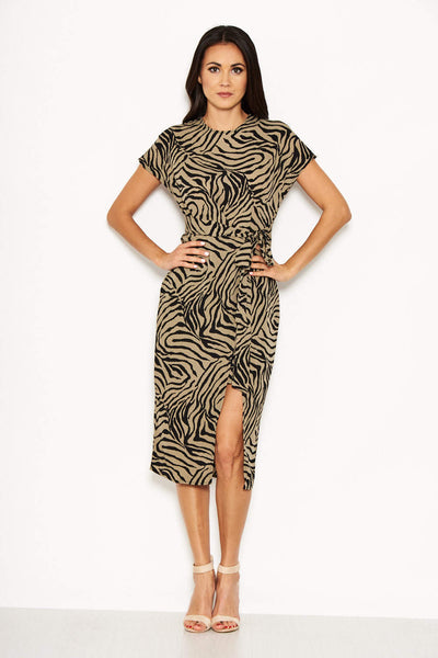 Khaki Animal Print Wrap Style Dress