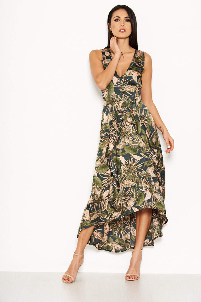 Khaki V Neck Leaf Print Dress