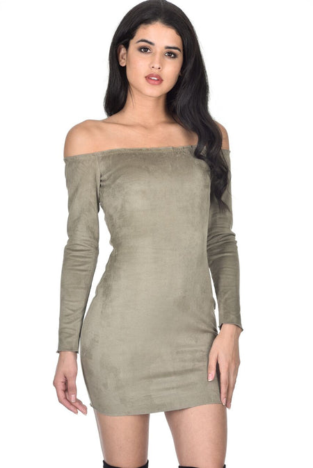 Khaki Bardot Ruffle Detail Knit Dress
