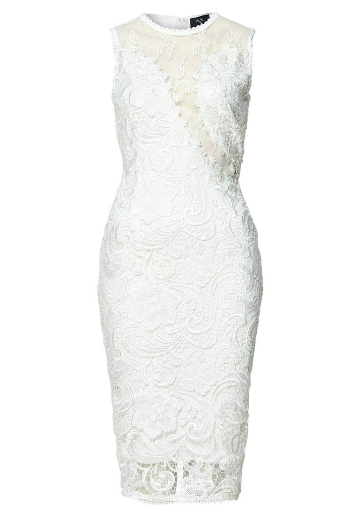 Cream Sleeveless Lace Mesh Bodycon  Midi