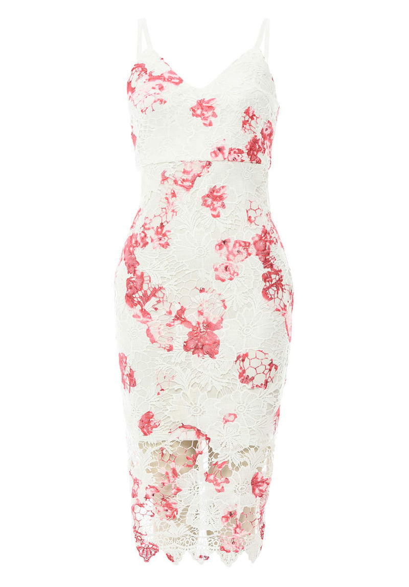 Floral Printed Crochet Midi Dress