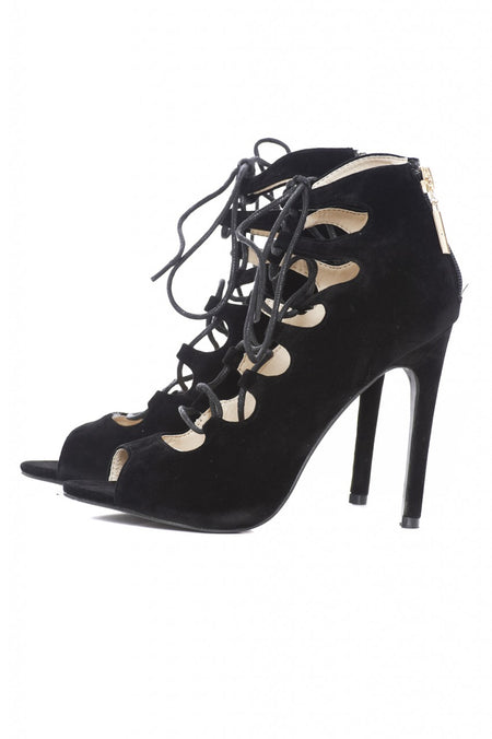 Cross Front Suede Heel