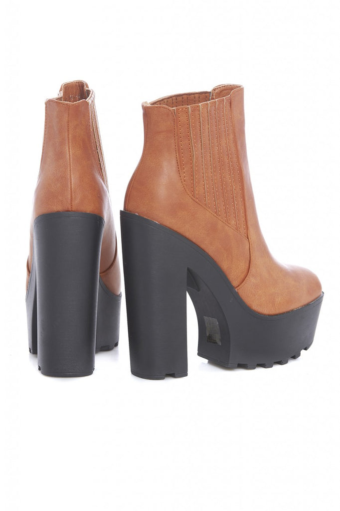 High Ribbed Side Ankle Boot