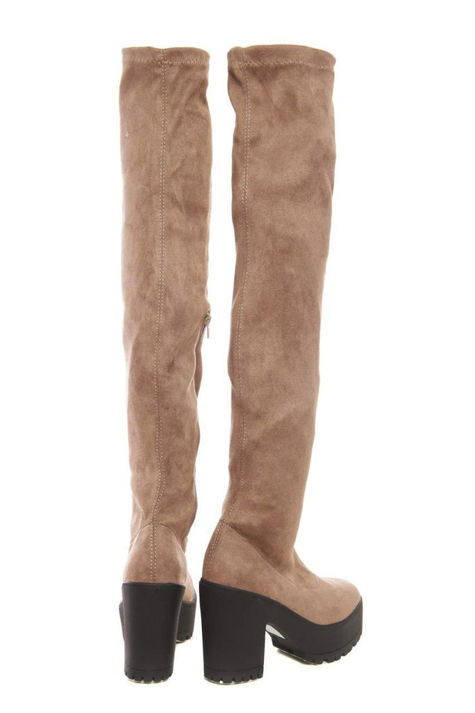 Over The Knee Chunky  Heeled  Boot