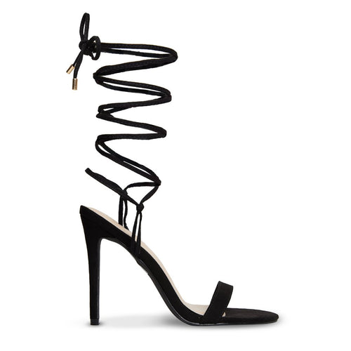 KIMMI - Black Suede Strappy Lace Up Stiletto Heel