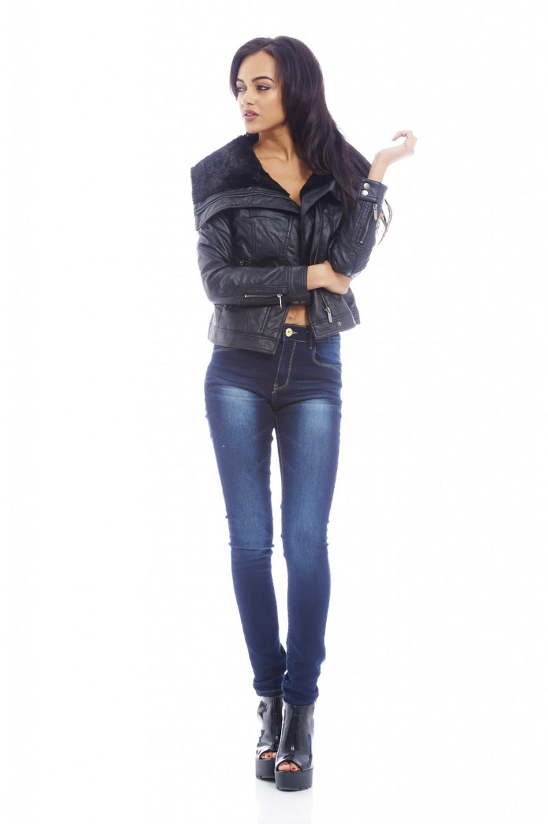Insert  Fur Collar Quilted PU Jacket