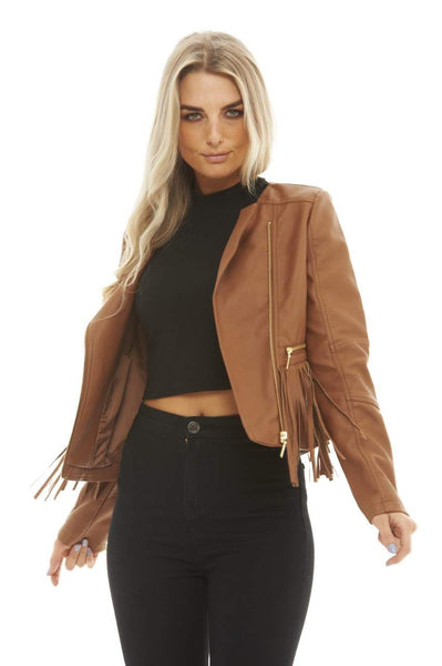 Cropped Leather   Tassel Jacket
