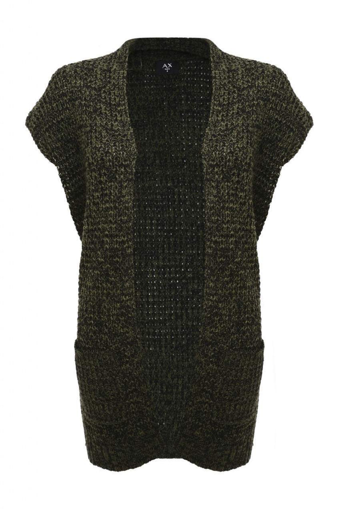 KhakiBlack Sleeveless Knitted Cardigan