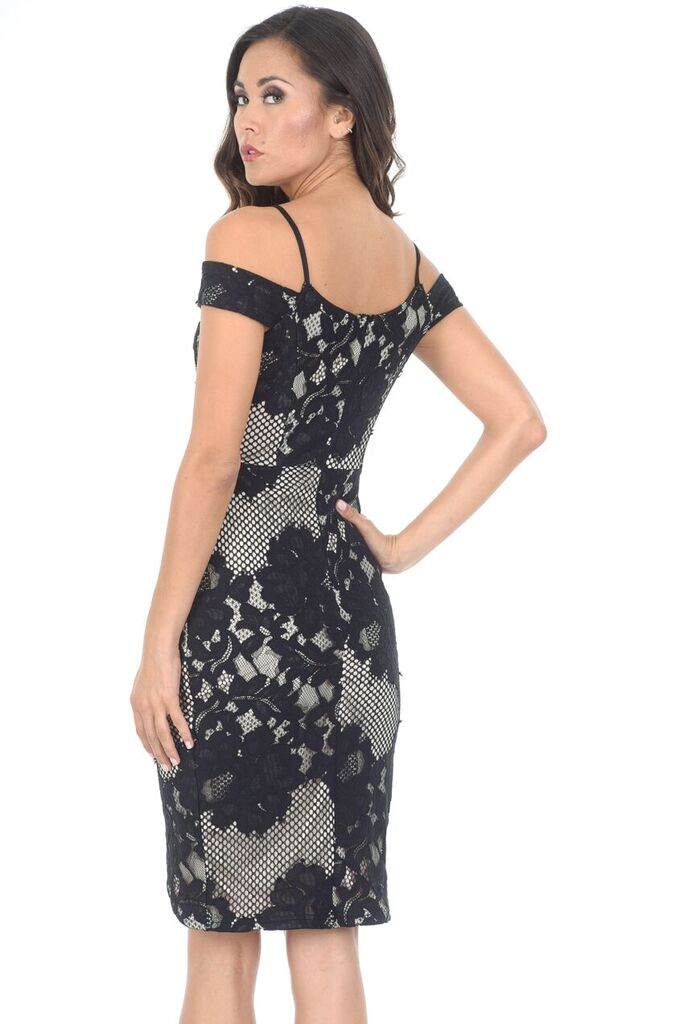 Black Contrast Lace Wrap Dress