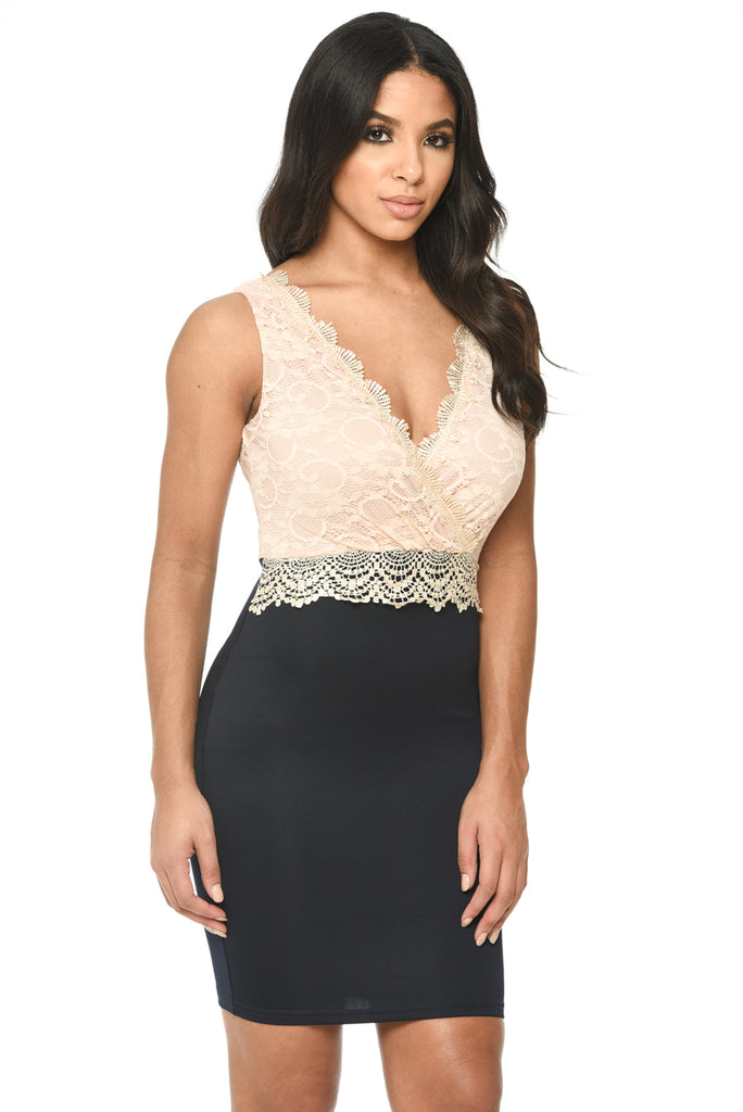 Lace Wrap Front Bodycon Dress