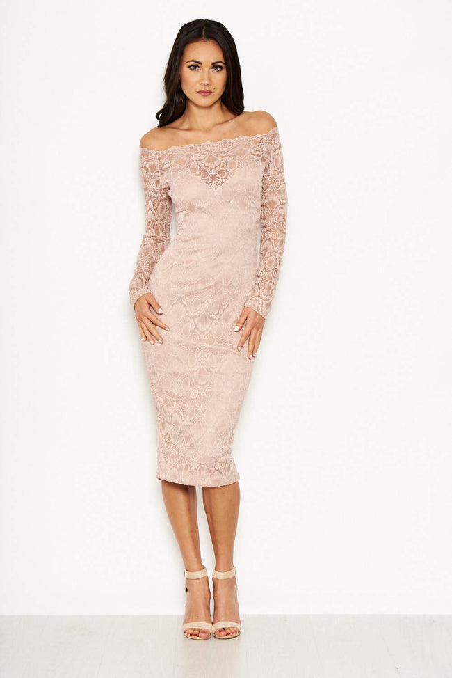 Lace Nude Dress With Sleeves