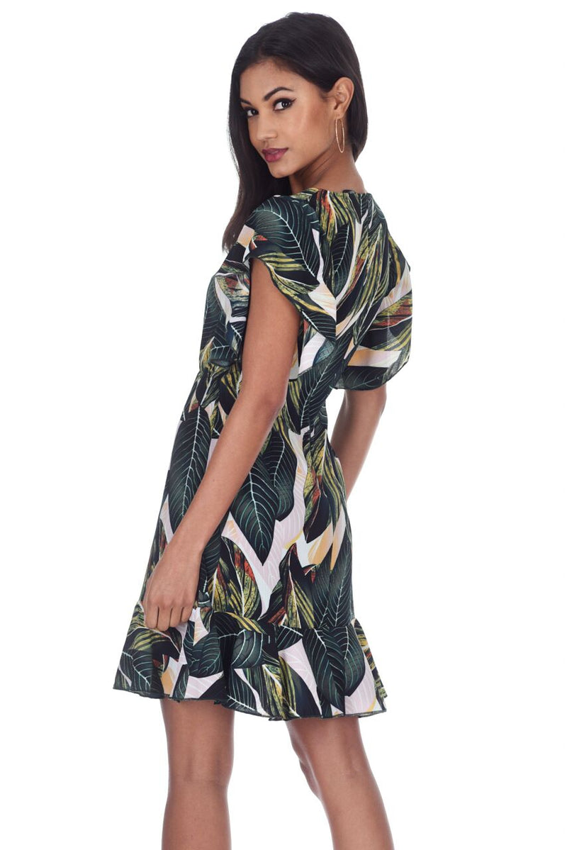 Leaf Printed Frill Detail Mini Dress