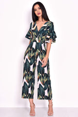 Leaf Printed Frill Detail Wrap Front Jumpsuit
