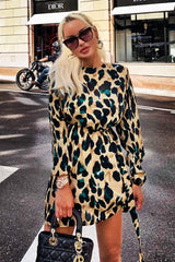 Leopard Print Buckle Waist Shift Dress