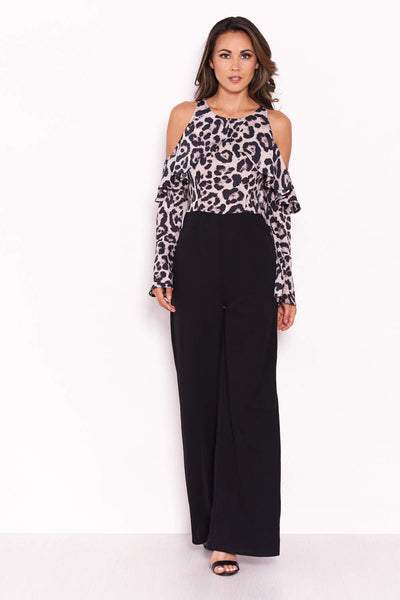 Leopard Print Cold Shoulder Jumpsuit With Ruffle Detail