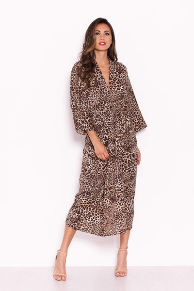 Leopard Print Elasticated Waist Midi Wrap Dress