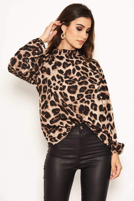 Green Animal Print Wrap Top