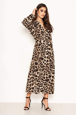 Leopard Print Long Sleeve Shirt Maxi Dress