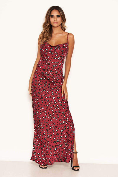 Leopard Print Maxi Cowl Neck Slip Dress