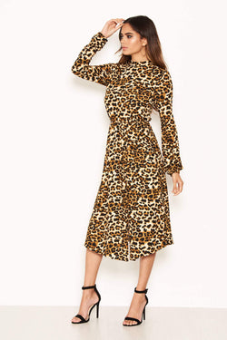 Leopard Print Side Split Midi Dress