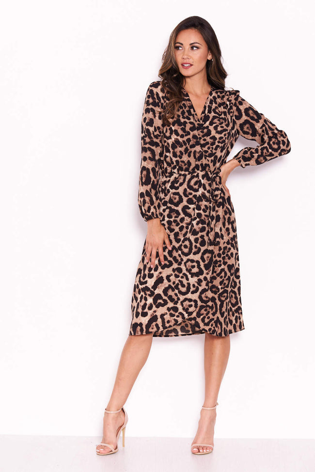 Animal Print V-Neck Wrap Dress