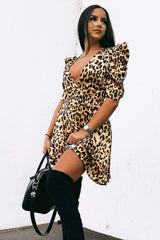 Leopard Print Wrap Over Puff Sleeve Dress