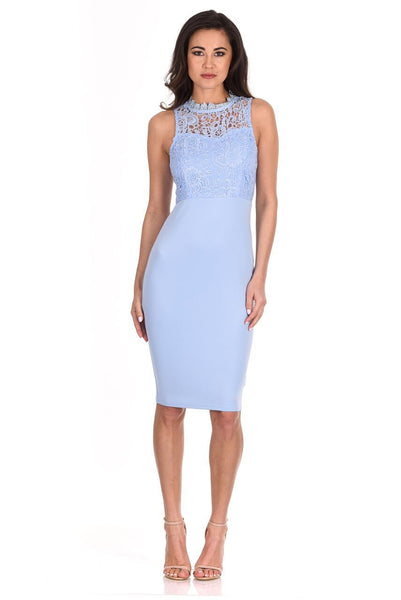 Light Blue Crochet Bodycon Dress