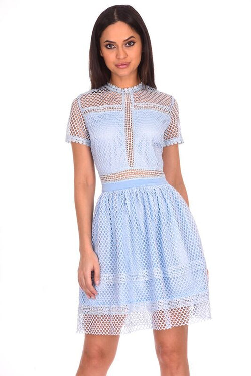 Light Blue Crochet Short Sleeved Dress