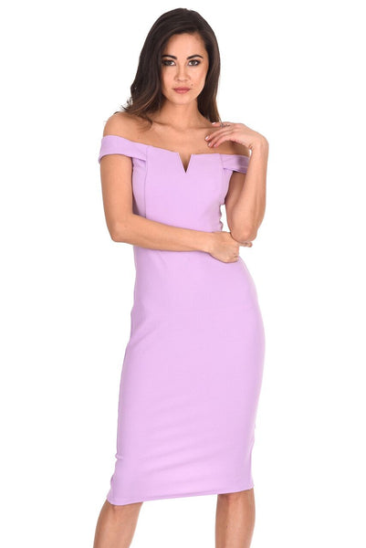 Lilac Bardot Bodycon Dress