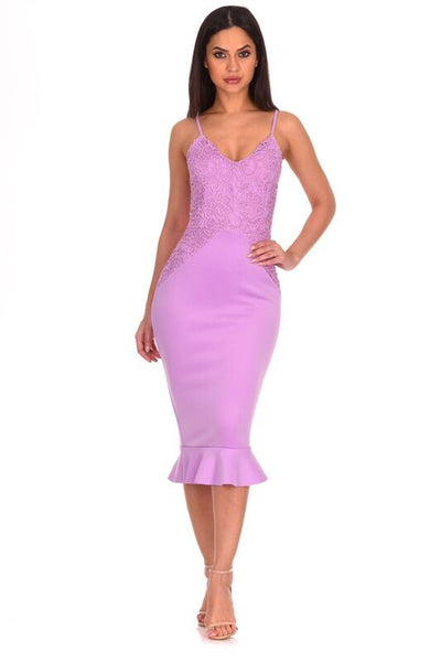 Lilac Crochet Detail Frill Midi Dress