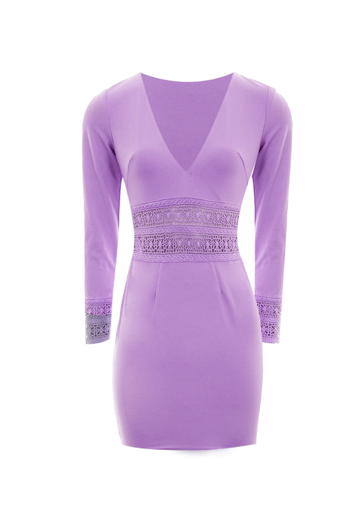 Lilac Crochet Detail Mini Dress